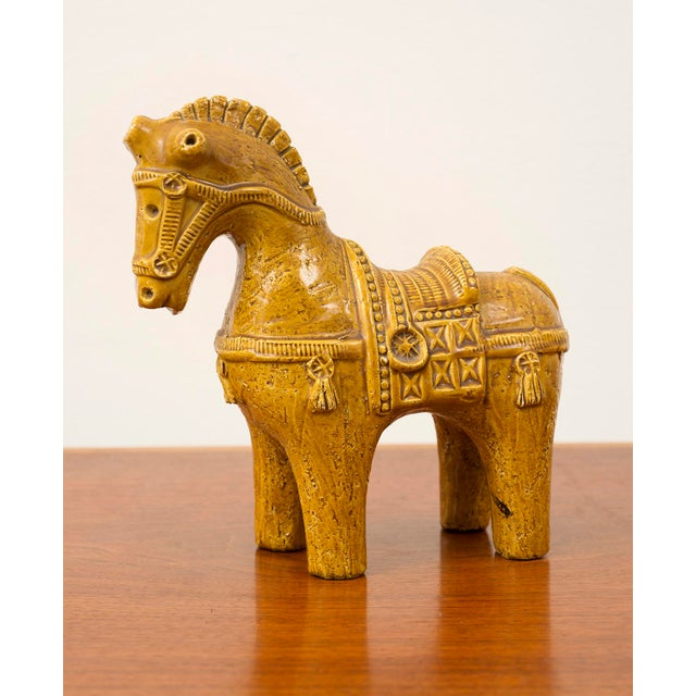 Ceramic Dog and Horse by Aldo Londi in Rare Mustard Glaze for Bitossi, Italy, 1960s For Sale In Santa Fe - Image 6 of 13