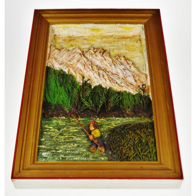 Vintage Folk Art Bas Relief Wood Carving of Man Fishing by C.J. Le Poidevin Condition consistent with age and history....