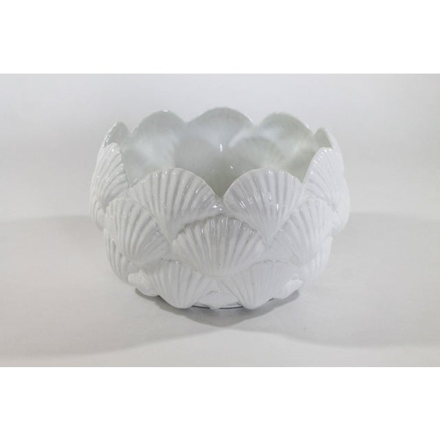 Mid 20th Century Vintage Italian White Ceramic Shell Planter Bowl For Sale - Image 5 of 5