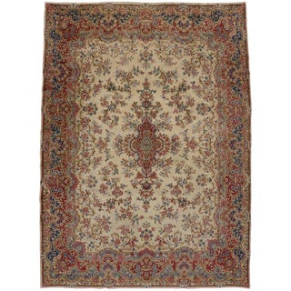 "Vintage Rococo Style Persian Kerman Wool Area Rug - 9'9"" X 13'4"" For Sale"