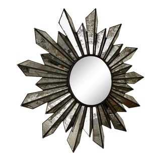Sunburst Soleil Mirror With Angled Antiqued Mirror Rays For Sale