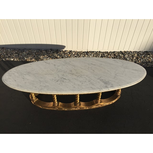 Hollywood Regency Gold Gilt Marble Coffee Table - Image 3 of 8