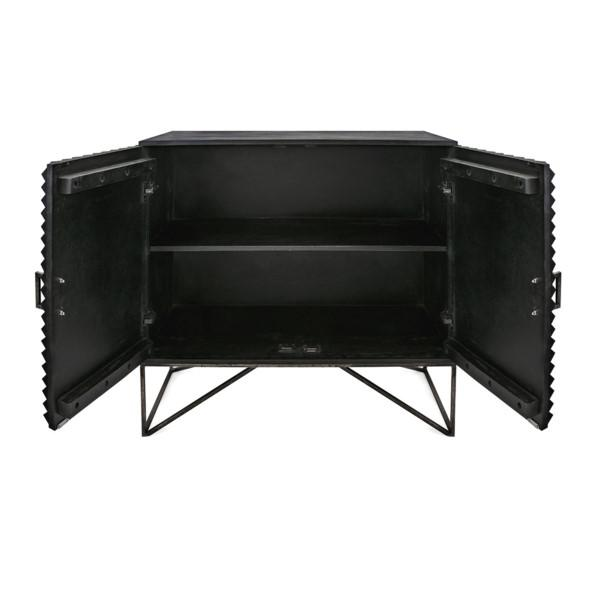 Black Geometric Wood Two Door Cabinet For Sale - Image 4 of 12