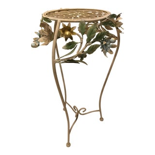 Vintage Iron Painted Tole Plant Stand