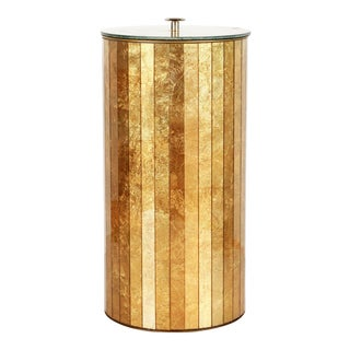 Vintage Hollywood Regency Gold Mirrored Glass Trash Can / Wastepaper Basket For Sale