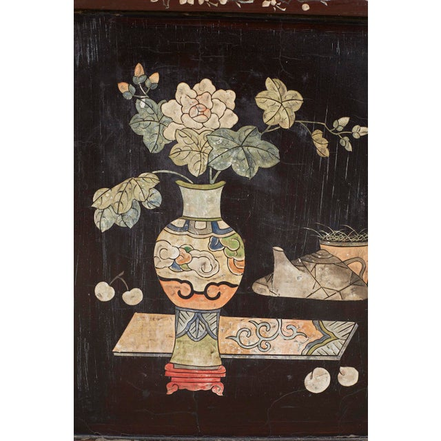 Brass Chinese Export Three-Panel Lacquered Coromandel Screen For Sale - Image 7 of 13