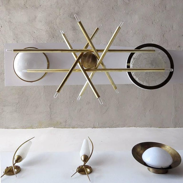 Gold Raw Brass & Spiral Chandelier For Sale - Image 8 of 11