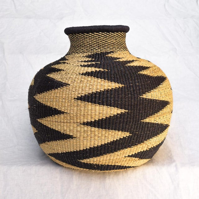 Handwoven Ghanaian Basket For Sale - Image 4 of 4