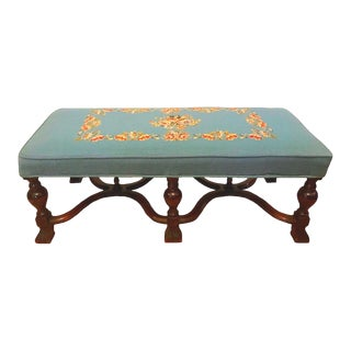 Antique Walnut Needlepoint Window Stool Bench For Sale