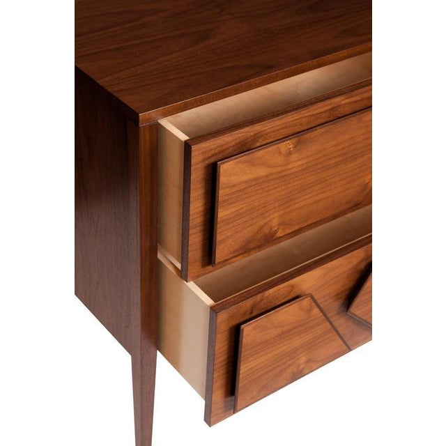 Mid-Century Modern Armia Two Drawer Walnut Dresser For Sale - Image 3 of 4