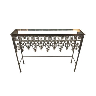 20th Century Custom Steel & Glass Console Table For Sale