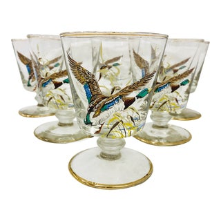 Vintage Set Hand Painted Cocktail Glasses For Sale