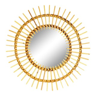 1960s French Rattan Sunburst Mirror For Sale