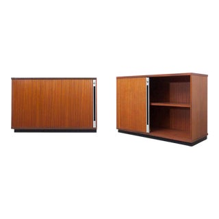 Set of Two Teak Office Cabinets with Tambour Doors For Sale