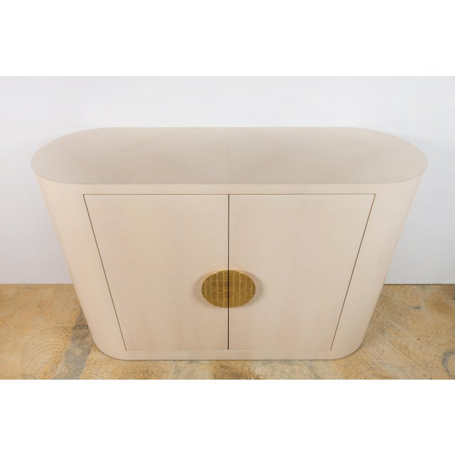 Modern Customized Italian Inspired 1970s Style Rounded Two-Door Cabinet For Sale - Image 3 of 8