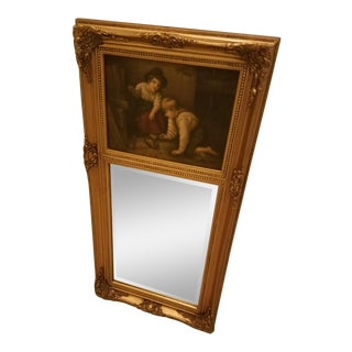 Ornate Gold Beveled Trumeau Mirror For Sale