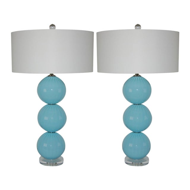 Joe Cariati Glass Ball Table Lamps Blue For Sale - Image 10 of 10