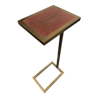 1990s Traditional Theodore Alexander Brass and Leather Cocktail Side Table For Sale