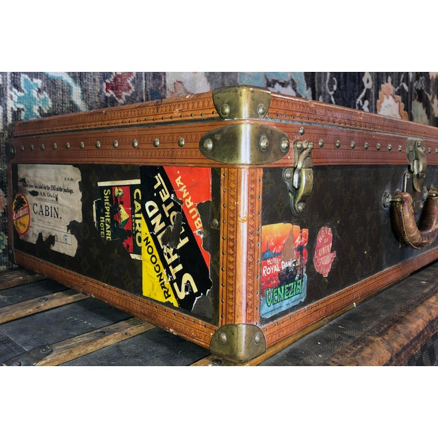 Early 20th Century Louis Vuitton Paris Monogram Canvas Trunk, Hard Suitcase For Sale - Image 10 of 13