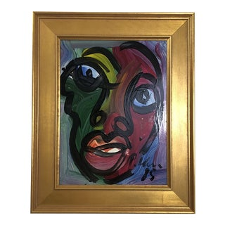 "1980s Abstract Painting, ""Colorful Face"" by Peter Keil For Sale"
