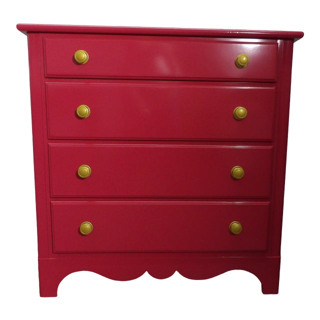 "Vintage Four Drawer Chest in Fresh New ""Sherbet Pink"" Lacquer For Sale"
