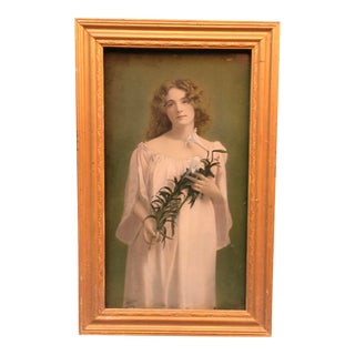 Victorian Glass Picture of a Girl W/ White Lily For Sale
