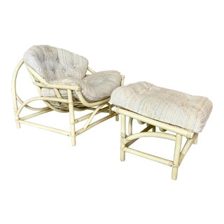 Vintage Circular Frame Rattan Chair and Ottoman For Sale