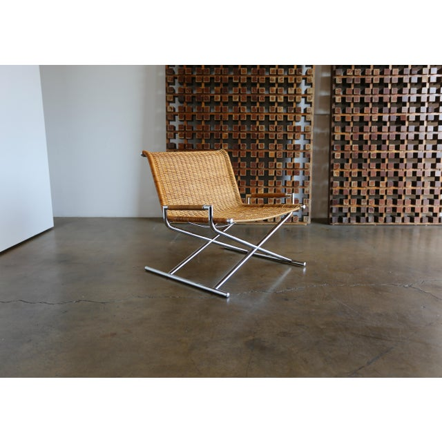 """1966 Vintage Cane & Chrome Plated Steel """" Sled """" Chair For Sale - Image 10 of 10"""