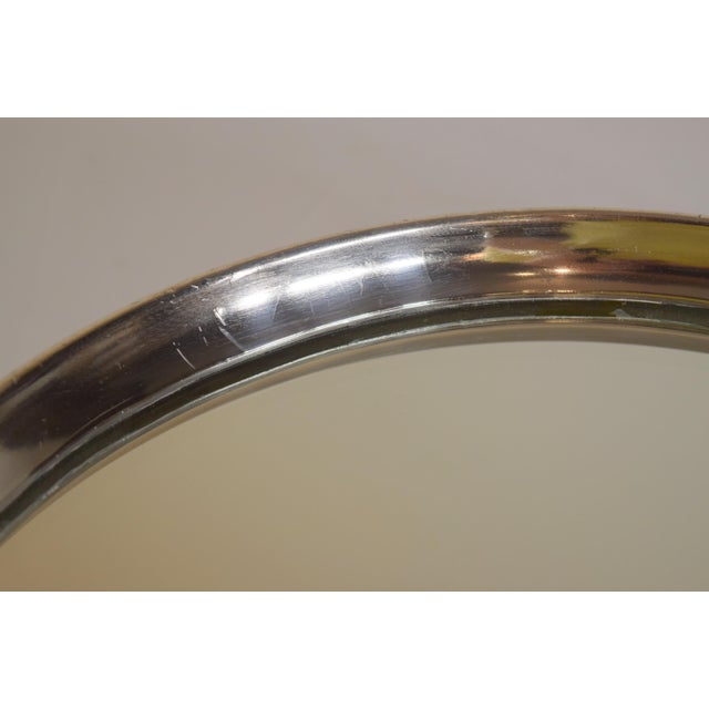 Late 1900's English Silver Plate Engraved Round Mirror Plateau For Sale - Image 4 of 8