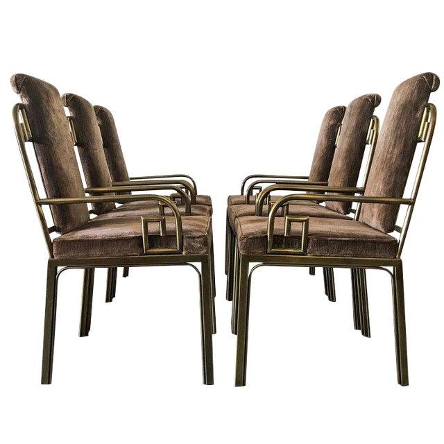 1970s Mastercraft Brass Greek Key Dining Chairs - set of 6 For Sale