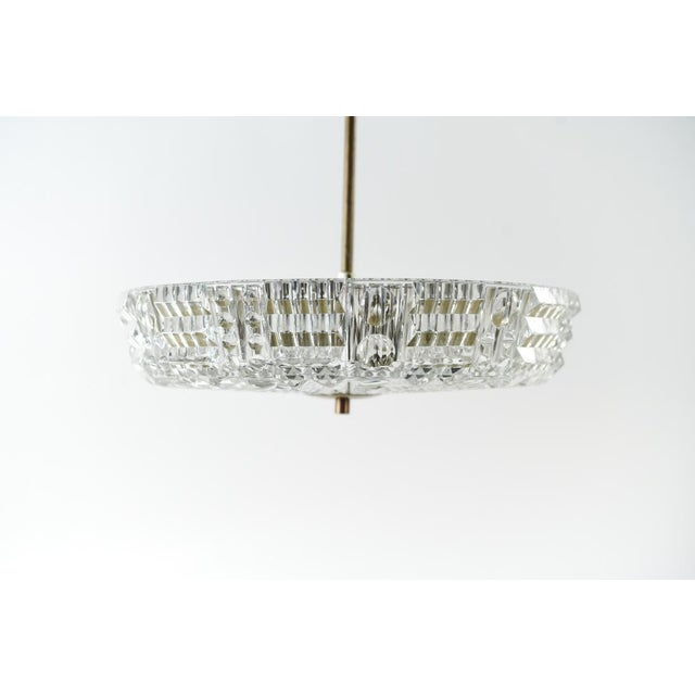 Metal Mid Century Modern Carl Fagerlund for Orrefors Glass and Brass Pendant Light For Sale - Image 7 of 8