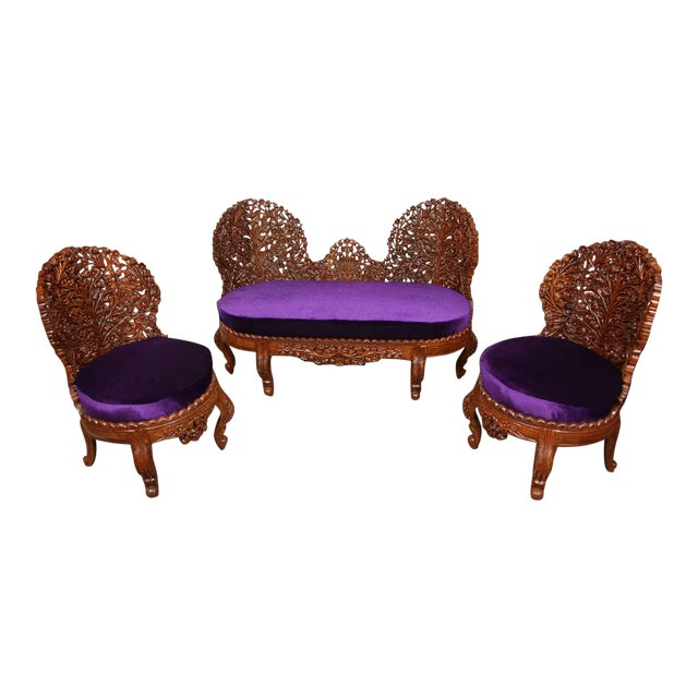 Anglo-Raj Settee and Side Chairs Suite For Sale