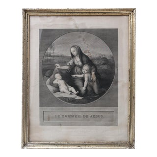 19th Century French Engraving of Madonna and Child For Sale