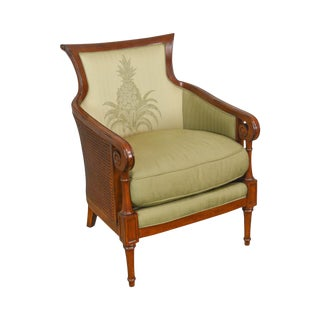 Tommy Bahama for Lexington Regency Style Caned Bergere Club Chair For Sale