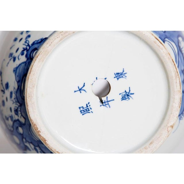 19th Century Chinese Blue and White Qing Period Vase With Foo Dog Heads For Sale - Image 12 of 13