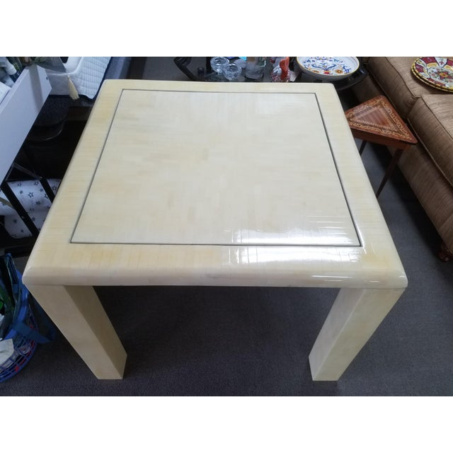 Hollywood Regency 1970's Tessellated Bone Gaming Table For Sale - Image 3 of 12