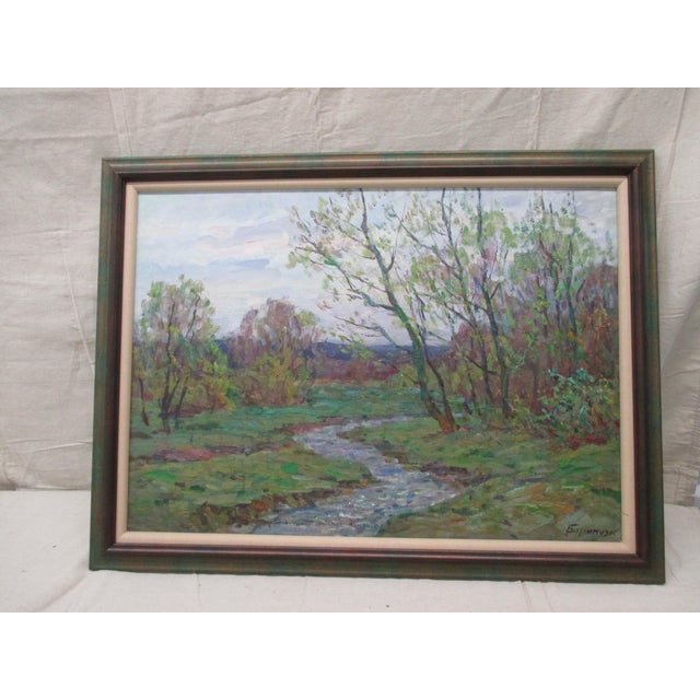 Framed Impressionist Style Oil Painting of Spring Landscape With Forest and Riverbank For Sale In Miami - Image 6 of 6