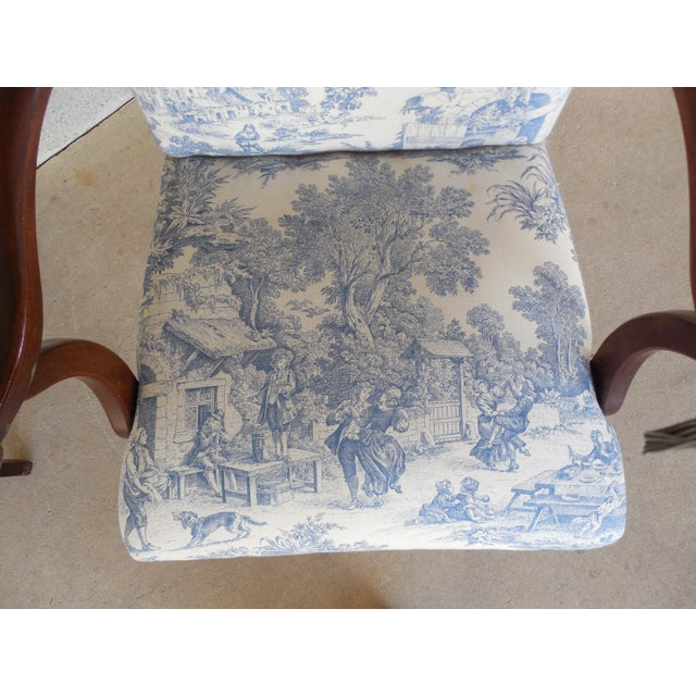 Blue Toile Arm Chairs - A Pair - Image 7 of 10