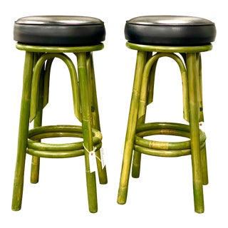 Vintage Moss Green Bamboo Style Barstools - a Pair For Sale