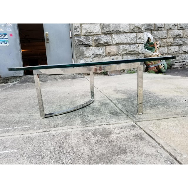 Mid-Century Modern Italian Glass & Chrome Boomerang Style Coffee Table - Image 8 of 10