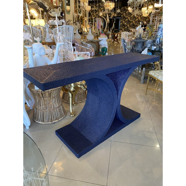 Vintage Karl Springer Style Navy Blue Lacquered Rope Console Table For Sale - Image 13 of 13