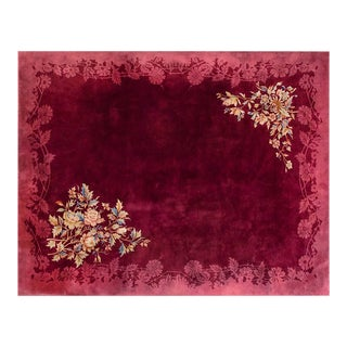 Chinese Art Deco Burgundy Rug - 9'x11'6""