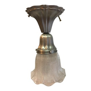 1920s Sheffield Nickel Plated Flushmount With Holophane Shade For Sale