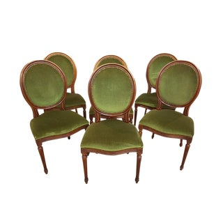 Set of Six Vintage Green Velvet Louis XVI Style French Medallion Dining Chairs For Sale
