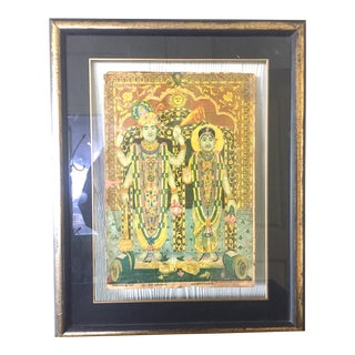 Early 20th Century Vintage Framed Hindu Religious Figures Print For Sale