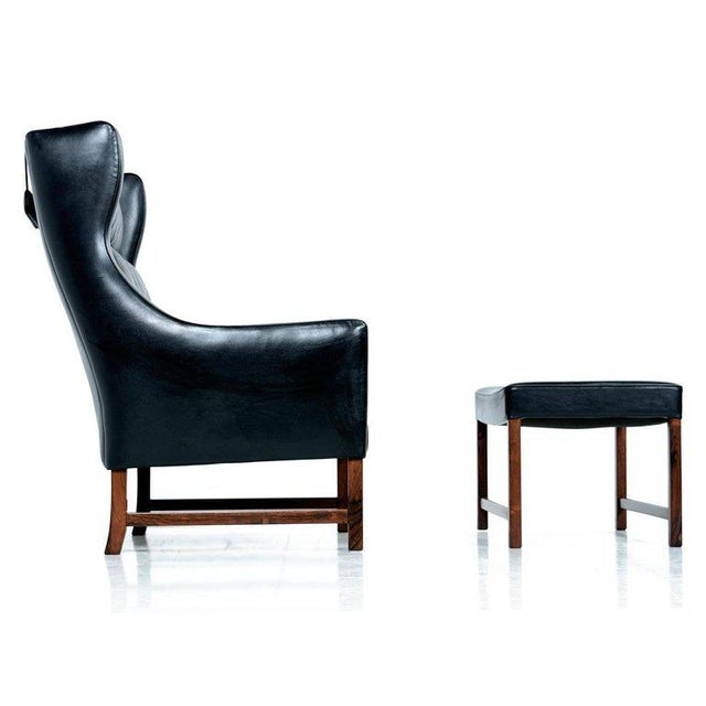 Borge Mogensen Style Black Leather & Rosewood Wingback Lounge Chair & Ottoman - Image 8 of 9