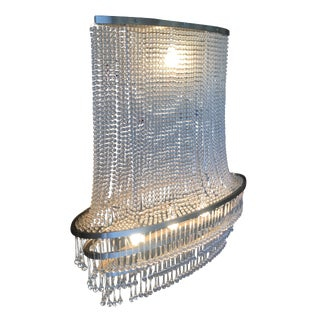 High Style Modern Beaded Crystal Basket Form Chandelier W/ Tear Shaped Crystals For Sale