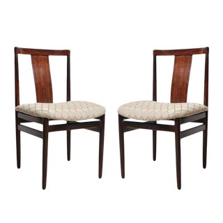 Rosewood Side Chairs with Upholstered Seat - a Pair For Sale