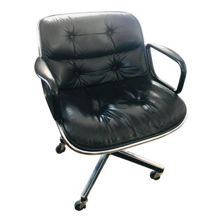 Original 1963 Knoll Charles Pollock Black Leather Executive Chair With All Original Labels For Sale