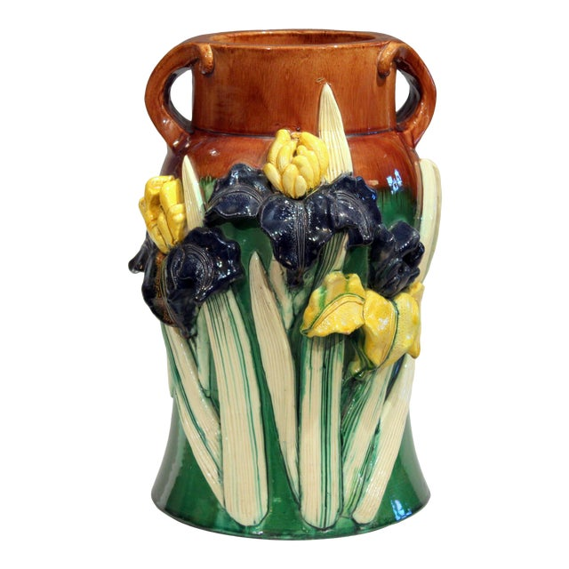 Large 1920s Awaji Pottery Antique Applied Irises in Deep Relief Vase For Sale